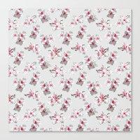 Hibiscus grey Canvas Print