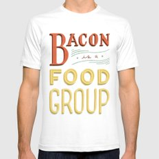 Bacon is a Food Group Mens Fitted Tee White SMALL
