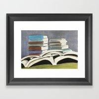 Books - Pastel Illustrat… Framed Art Print