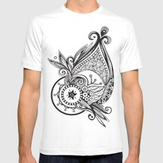 whaletangle White SMALL Mens Fitted Tee