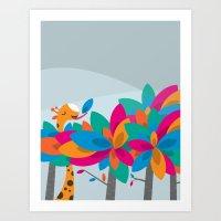Orange and Trees Art Print