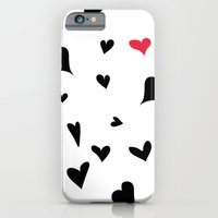 black hearts with one pink one  iPhone 6 Slim Case