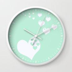 Mint Green Hearts of Love Wall Clock