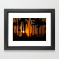 Striped Sunset Framed Art Print