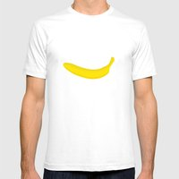 Banana Print Mens Fitted Tee White SMALL