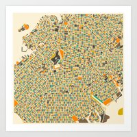 map Art Prints featuring Brooklyn Map by Jazzberry Blue