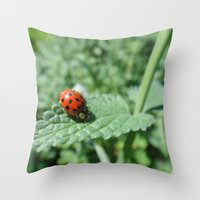 Ladybug on a Leaf Throw Pillow