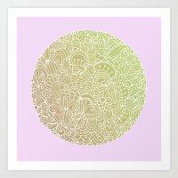 Detailed circle, gold rose Art Print