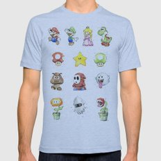Mario Characters Watercolor  Mens Fitted Tee Athletic Blue SMALL