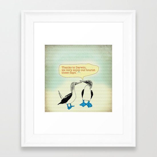 Leave Galapagos alone,pls. Framed Art Print