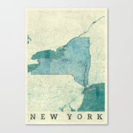 New York Map Blue Vintag… Canvas Print