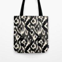 Black Ikat Diamonds Tote Bag