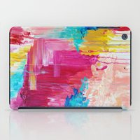 ELATED - Beautiful Bright Colorful Modern Abstract Painting Wild Rainbow Pastel Pink Color iPad Case