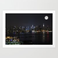 New York Supermoon Art Print