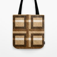 Brown Block Pixel Pattern Tote Bag