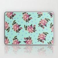 Pink Roses On Blue Laptop & iPad Skin