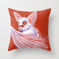 White Bat Throw Pillow