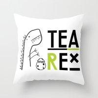 Tea-Rex Throw Pillow