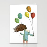 Baloons on wind Stationery Cards