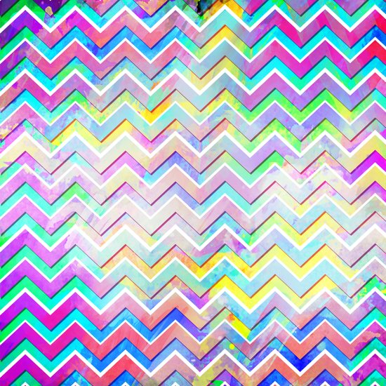 Bright Watercolor Zigzag Chevron Pattern Art Print