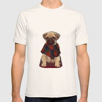 The Plaid Poncho'ed Pug Mens Fitted Tee Natural SMALL