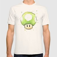 1UP Mushroom Painting Mens Fitted Tee Natural SMALL