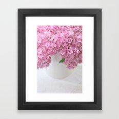 Pink Hydrangea Flowers Framed Art Print