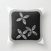 MCM Black Grey Flowers Throw Pillow