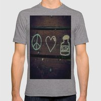 Peace Love and Insulin  Mens Fitted Tee Athletic Grey SMALL