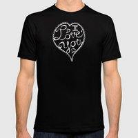 I Love You Chalkboard Mens Fitted Tee Black SMALL