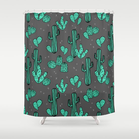 Prickly Pear - Charcoal by Andrea Lauren Shower Curtain
