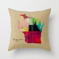 Wisconsin State Map Throw Pillow