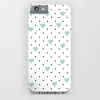 iPhone & iPod Case featuring Pin Point Hearts Mint by Project M