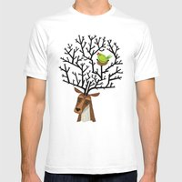 The Tree Stag and The Green Finch Mens Fitted Tee White SMALL