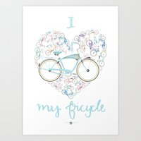 I Love My Bicycle Art Print