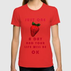 FLYING STRAWBERRY Womens Fitted Tee Red SMALL