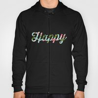 Floral Happy Typography Hoody