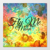FLY ME TO THE MOON - Rainbow Bold Galactic Outer Space Orbit Stars Abstract Fine Art Typography Canvas Print