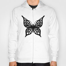 Butterfly Black on White Hoody