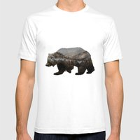 The Kodiak Brown Bear Mens Fitted Tee White SMALL