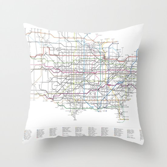 U.S. Numbered Highways as a Subway Map Throw Pillow