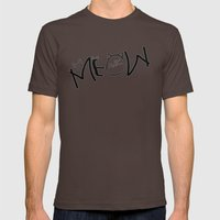 MEOW  typography Mens Fitted Tee Brown SMALL