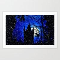 Snowfall At Full Moon Art Print