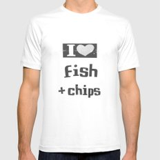 I ♥ Fish And Chips - Dark Gray White SMALL Mens Fitted Tee