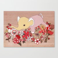 Elephant in the flowers Canvas Print