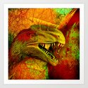 prehistoric extiction   (This Artwork is a collaboration with the talented artist Agostino Lo coco) Art Print