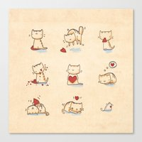 Cats and hearts Canvas Print