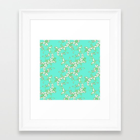 Petite Paisley in Aqua Framed Art Print