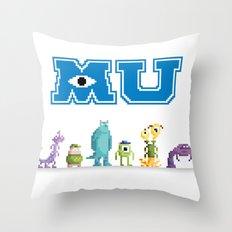 Pixel Monsters University Throw Pillow