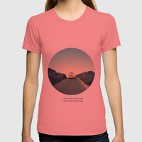 A story that doesn't begin is a story that never ends Womens Fitted Tee Pomegranate SMALL